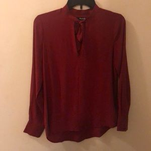 Madewell Silk Long Sleeve Tunic Top Red Size XS